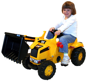CATERPILLAR-kettler-Kid-Tractor-Girl-Riding-b